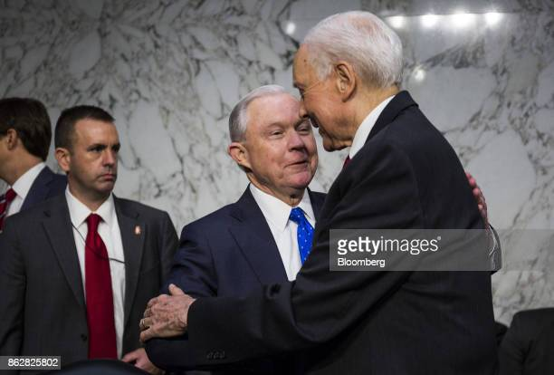 Jeff Sessions US attorney general speaks with Senator Orrin Hatch a Republican from Utah right while arriving to testify during a Senate Judiciary...