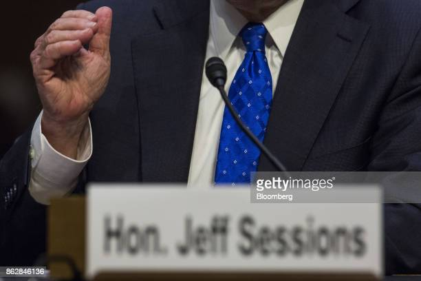 Jeff Sessions US attorney general testifies during a Senate Judiciary Committee hearing in Washington DC US on Wednesday Oct 18 2017 Sessions told...