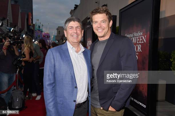 Jeff Shell and Jason Blum attend Halloween Horror Nights Opening Night Red Carpet at Universal Studios Hollywood on September 15 2017 in Universal...
