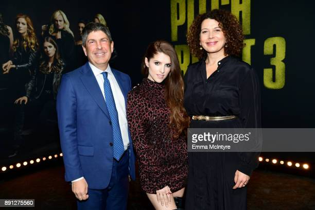 Jeff Shell Chairman of Universal Filmed Entertainment Group Anna Kendrick and Donna Langley Chairman of Universal Pictures attend the premiere of...