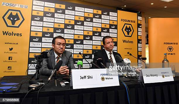 Jeff Shi representative of Fosun and Jez Moxey CEO of Wolverhampton Wanderers attend a press conference to announce the takeover of Wolverhampton...