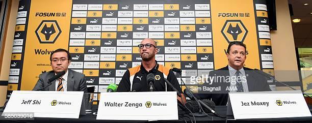 Jeff Shi representative of Fosun Group and Wolverhampton Wanderers Walter Zenga manager / head coach of Wolverhampton Wanderers and Jez Moxey...