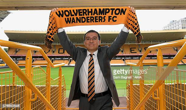 Jeff Shi representative of the Fosun group poses ahead of the unveiling of the new Wolverhampton Wanderers club owners at Molineux on July 25 2016 in...