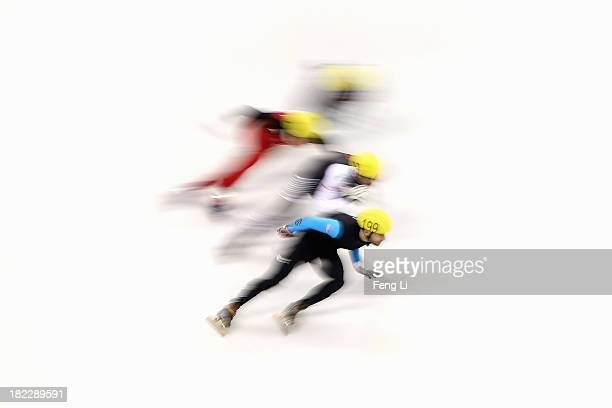 Jeff Simon of United States competes in the Men's 5000m Relay Final during day four of the Samsung ISU World Cup Short Track at the Oriental Sports...