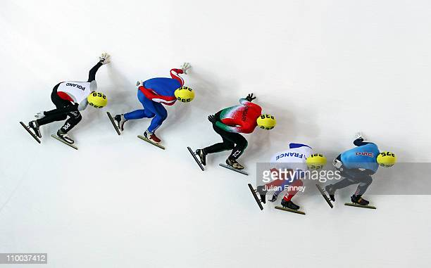 Jeff Simon of USA Maxime Chataognier of France Bence Olah of Hungary Peter Jelen of Slovakia and Bartosz Konopko of Poland compete in the 1000m heats...