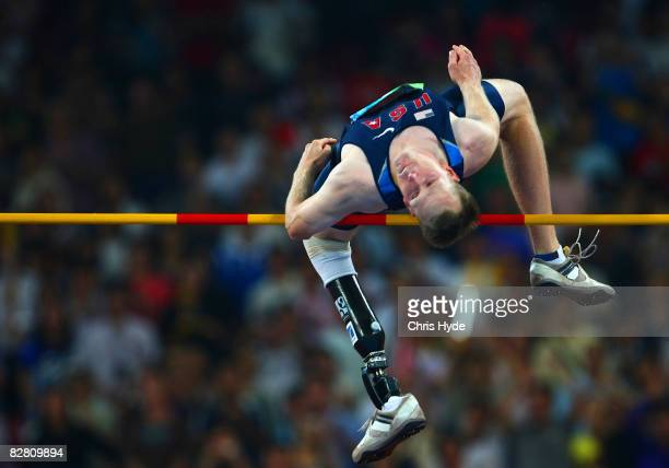 Jeff Skiba of the United States competes in the Men's High Jump F4446 final Athletics event at the National Stadium during day eight of the 2008...