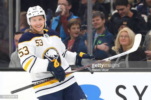 Jeff Skinner of the Buffalo Sabres celebrates after scoring a goal in the third period of the game between the Boston Bruins and the Buffalo Sabres...