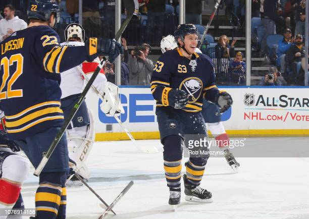 Jeff Skinner of the Buffalo Sabres celebrates his first period goal against the Florida Panthers during an NHL game on January 3 2019 at KeyBank...
