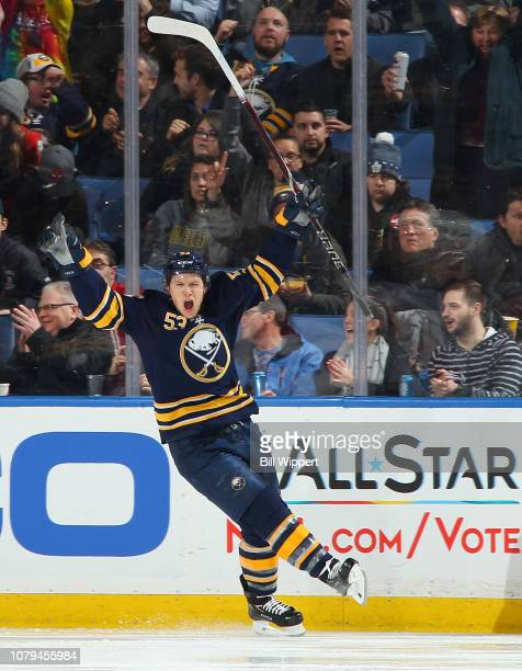 Jeff Skinner of the Buffalo Sabres celebrates his goal during the second period of an NHL game against the New Jersey Devils on January 8 2019 at...