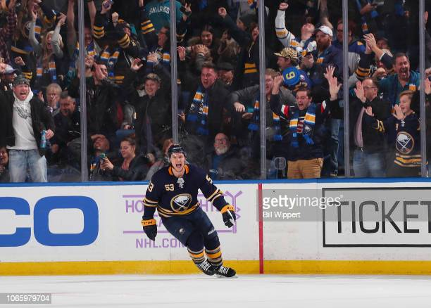 Jeff Skinner of the Buffalo Sabres celebrates his overtime game winning goal against the San Jose Sharks during an NHL game on November 27 2018 at...