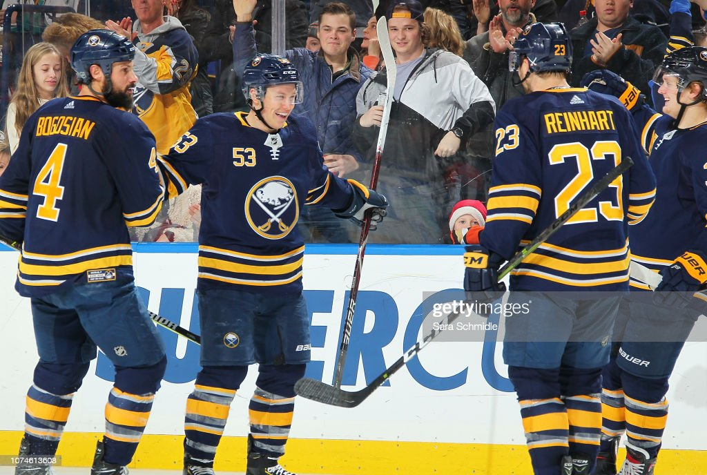a3ccdd625 Jeff Skinner of the Buffalo Sabres celebrates his third period goal ...
