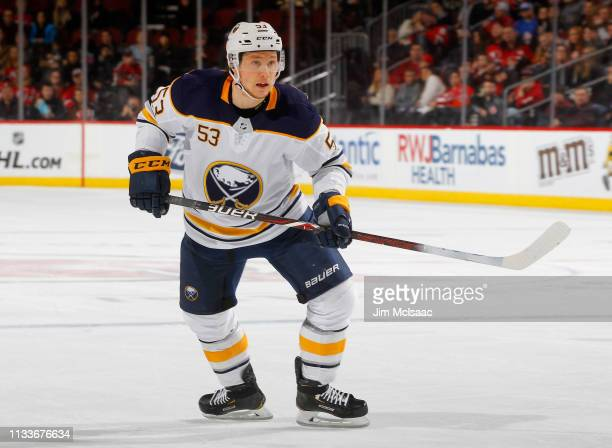 Jeff Skinner of the Buffalo Sabres in action against the New Jersey Devils at Prudential Center on March 25 2019 in Newark New Jersey The Devils...