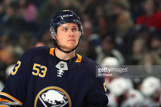 Jeff Skinner of the Buffalo Sabres prepares for a faceoff during an NHL game against the Ottawa Senators on April 4 2019 at KeyBank Center in Buffalo...