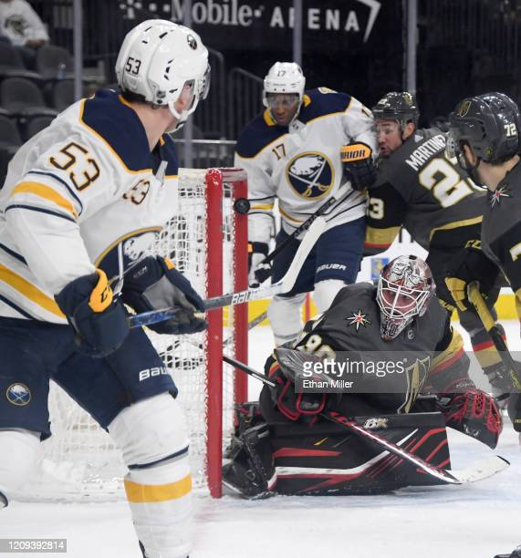 Jeff Skinner of the Buffalo Sabres scores a thirdperiod goal against Robin Lehner of the Vegas Golden Knights in the third period of their game at...