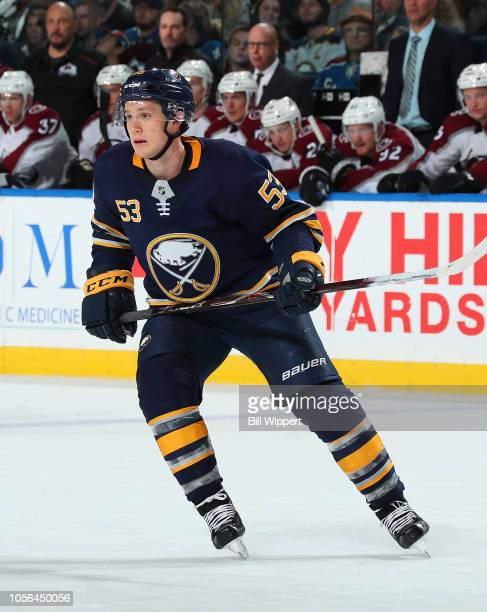 Jeff Skinner of the Buffalo Sabres skates against the Colorado Avalanche during an NHL game on October 11 2018 at KeyBank Center in Buffalo New York