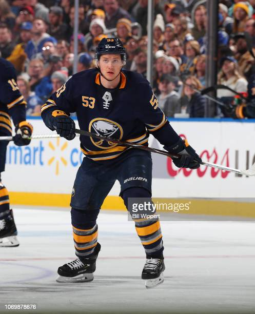 Jeff Skinner of the Buffalo Sabres skates against the Tampa Bay Lightning during an NHL game on November 13 2018 at KeyBank Center in Buffalo New York