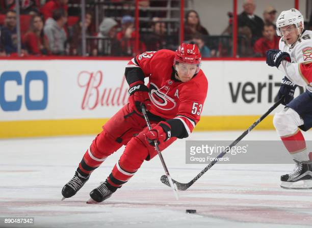 Jeff Skinner of the Carolina Hurricanes carries the puck across the redline during an NHL game against the Florida Panthers on December 3 2017 at PNC...