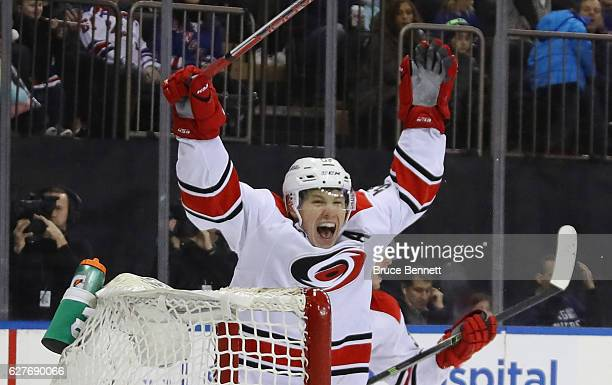Jeff Skinner of the Carolina Hurricanes celebrates a goal by Victor Rask at 636 of the third period against Henrik Lundqvist of the New York Rangers...