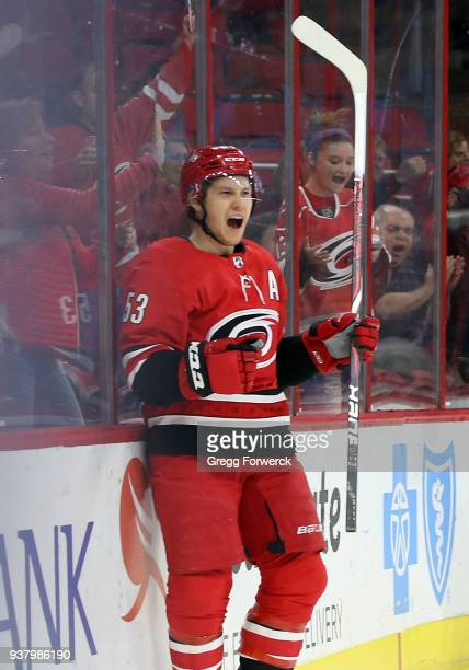 Jeff Skinner of the Carolina Hurricanes celebrates his first period goal against the Arizona Coyotes during an NHL game on March 22 2018 at PNC Arena...