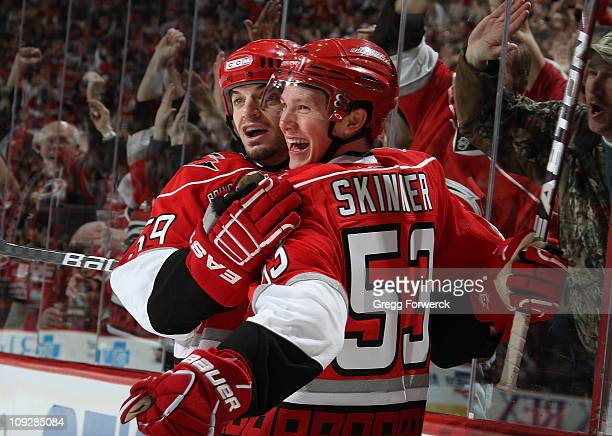 Jeff Skinner of the Carolina Hurricanes celebrates his firstperiod goal with teammate Chad LaRose during an NHL game against the Philadelphia Flyers...