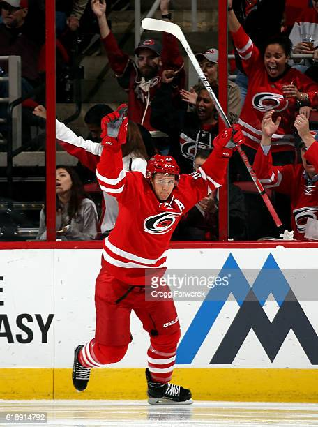 Jeff Skinner of the Carolina Hurricanes celebrates his second goal against the New York Rangers during the second period of an NHL game on October 28...