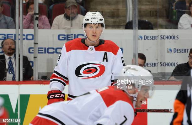 Jeff Skinner of the Carolina Hurricanes gets ready prior to a faceoff against the Arizona Coyotes at Gila River Arena on November 4 2017 in Glendale...