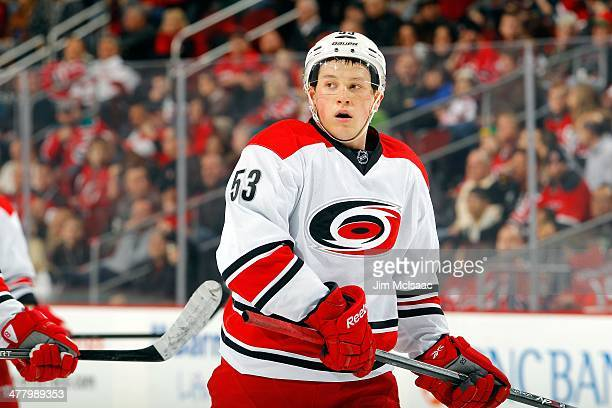 Jeff Skinner of the Carolina Hurricanes in action against the New Jersey Devils at the Prudential Center on March 8 2014 in Newark New Jersey The...