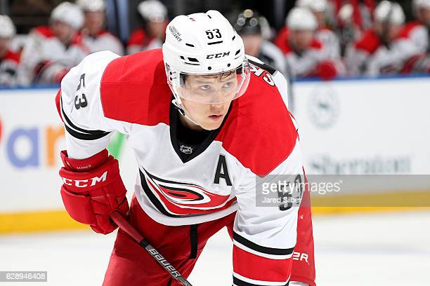 Jeff Skinner of the Carolina Hurricanes looks on during a faceoff against the New York Rangers at Madison Square Garden on December 3 2016 in New...