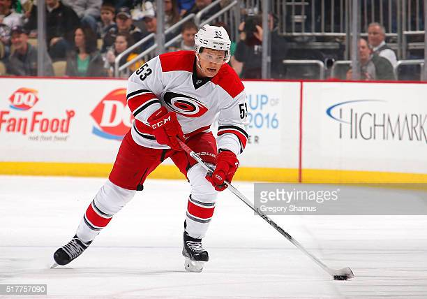 Jeff Skinner of the Carolina Hurricanes moves the puck against the Pittsburgh Penguins at Consol Energy Center on March 17 2016 in Pittsburgh...