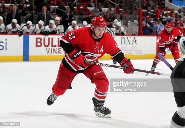 Jeff Skinner of the Carolina Hurricanes of the Los Angeles Kings during an NHL game on February 13 2018 at PNC Arena in Raleigh North Carolina