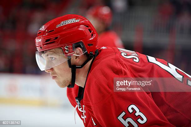 Jeff Skinner of the Carolina Hurricanes prepares for a faceoff during an NHL game against the New Jersey Devils on November 6 2016 at PNC Arena in...