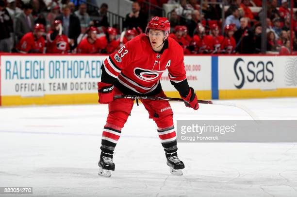 Jeff Skinner of the Carolina Hurricanes prepares for a faceoff against the Toronto Maple Leafs during an NHL game on November 24 2017 at PNC Arena in...