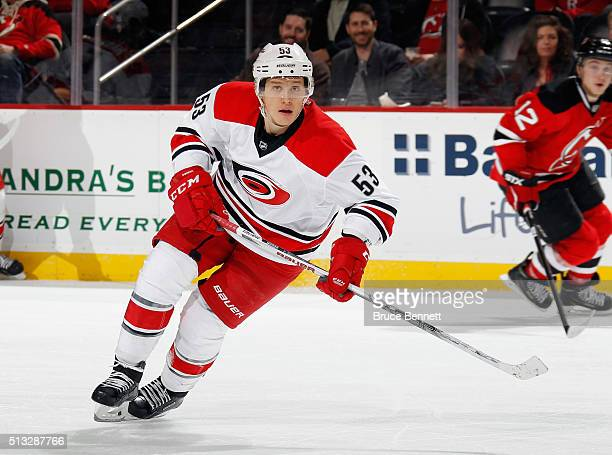 Jeff Skinner of the Carolina Hurricanes skates against the New Jersey Devils at the Prudential Center on March 1 2016 in Newark New Jersey The...