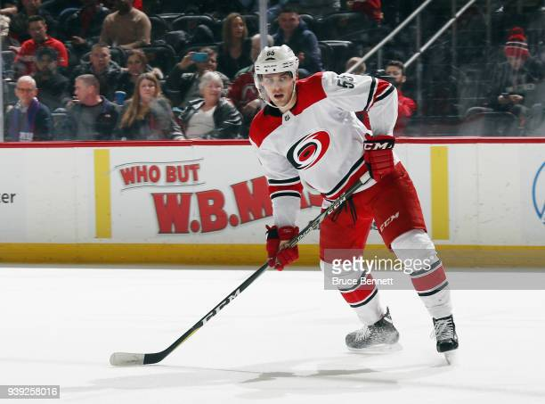 Jeff Skinner of the Carolina Hurricanes skates against the New Jersey Devils at the Prudential Center on March 27 2018 in Newark New Jersey