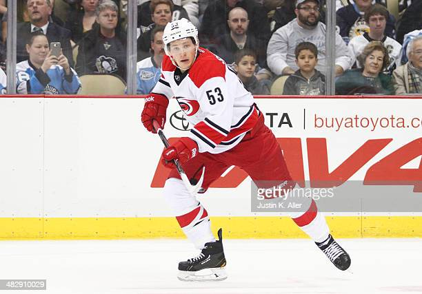 Jeff Skinner of the Carolina Hurricanes skates against the Pittsburgh Penguins during the game at Consol Energy Center on April 1 2014 in Pittsburgh...