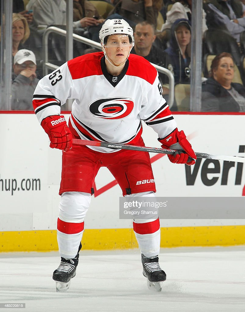 Jeff Skinner #53 of the Carolina Hurricanes skates against the Pittsburgh Penguins on April 1, 2014 at Consol Energy Center in Pittsburgh, Pennsylvania.