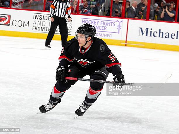 Jeff Skinner of the Carolina Hurricanes skates for position on the ice against the Columbus Blue Jackets during their NHL game at PNC Arena on...