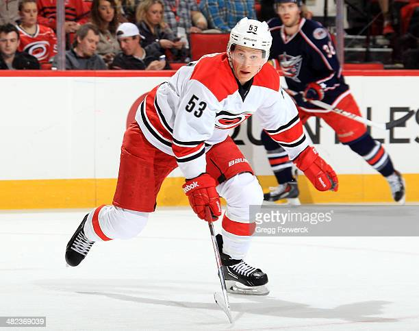 Jeff Skinner of the Carolina Hurricanes skates for position on the ice during their NHL game against the Columbus Blue Jackets at PNC Arena on March...