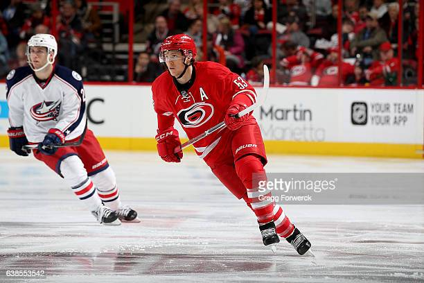 Jeff Skinner of the Carolina Hurricanes skates for position on the ice during an NHL game against the Columbus Blue Jackets on January 10 2017 at PNC...