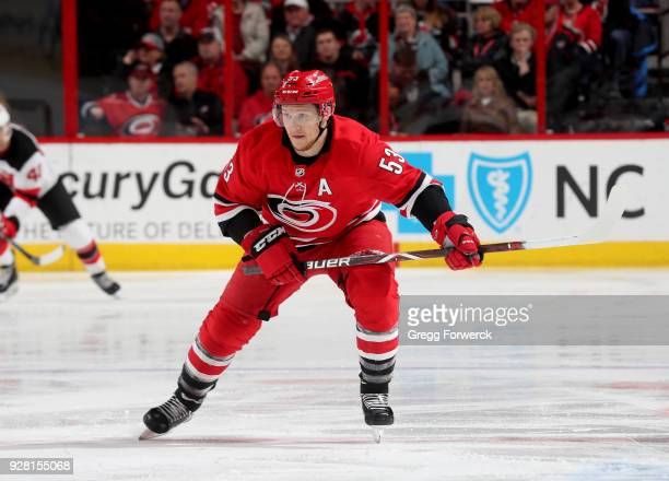 Jeff Skinner of the Carolina Hurricanes skates for position on the ice during an NHL game against the New Jersey Devils on March 2 2018 at PNC Arena...
