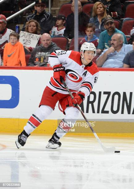 Jeff Skinner of the Carolina Hurricanes skates with the puck against the Arizona Coyotes at Gila River Arena on November 4 2017 in Glendale Arizona
