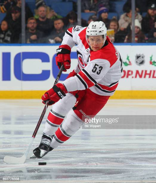 Jeff Skinner of the Carolina Hurricanes skates with the puck against the Buffalo Sabres during the second period of an NHL game on December 15 2017...