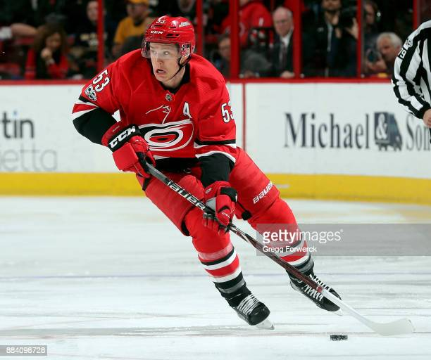 Jeff Skinner of the Carolina Hurricanes skates with the puck during an NHL game against the Nashville Predators on November 26 2017 at PNC Arena in...