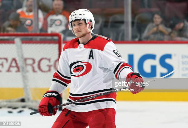 Jeff Skinner of the Carolina Hurricanes warms up prior to his game against the Philadelphia Flyers on March 1 2018 at the Wells Fargo Center in...