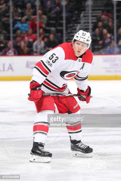 Jeff Skinner of the Colorado Avalanche skates against the Carolina Hurricanes at the Pepsi Center on November 2 2017 in Denver Colorado The Avalanche...