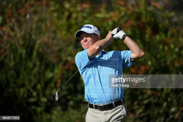 Jeff Sluman tees off on the 16th hole during the first round of the PGA TOUR Champions Allianz Championship at The Old Course at Broken Sound on...