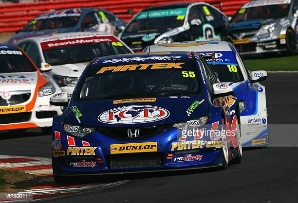 Jeff Smith drives the Pirtek Racing Honda Civic during the Dunlop MSA British Touring Car Championship race at the Silverstone Circuit on September...