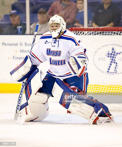 Jeff Smith the Massachusetts Lowell River Hawks tends goal against the St. Thomas University Tommies during NCAA exhibition hockey at the Tsongas...