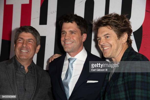 Jeff Snell Jeff Wadlow and Jason Blum attend the premiere of Universal Pictures 'Blumhouse's Truth Or Dare' at ArcLight Cinemas Cinerama Dome on...