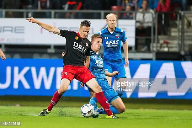 Jeff Stans of Excelsior, Mattias Johansson of AZ, Jop van der Linden of AZ during the Dutch Eredivisie match between Excelsior Rotterdam and AZ...